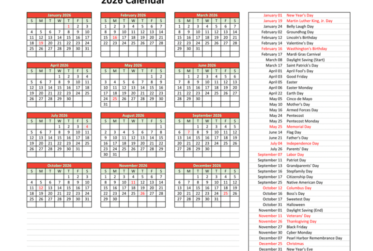 Yearly Schedule 2026