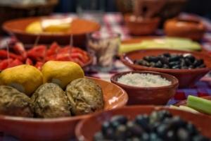Typical Greek dinner platter